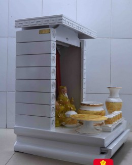 Trang thờ Thần Tài gỗ Sồi mầu trắng